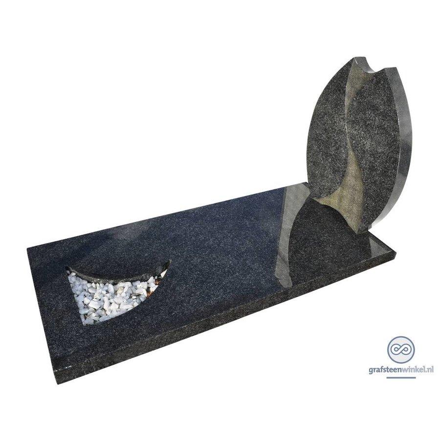 Grijze tulpvormige grafsteen met afdekplaat-2