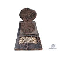 thumb-Bruine ronde grafsteen met omranding en afdekplaat-2