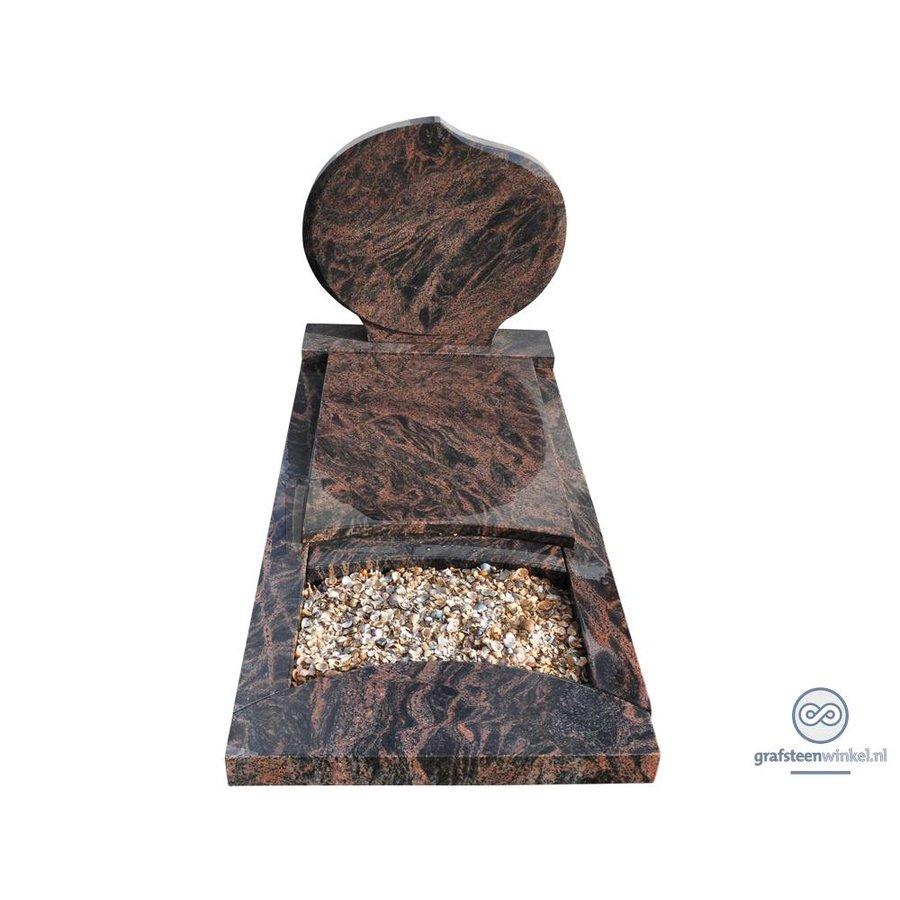Bruine ronde grafsteen met omranding en afdekplaat-2