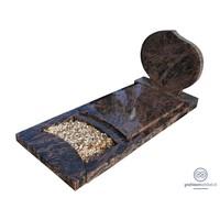 thumb-Bruine ronde grafsteen met omranding en afdekplaat-1