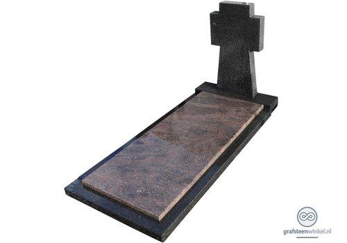Zwarte kruisvormige grafsteen