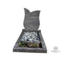 thumb-Grijze tulpvormige grafsteen met omranding en bloemvak-2