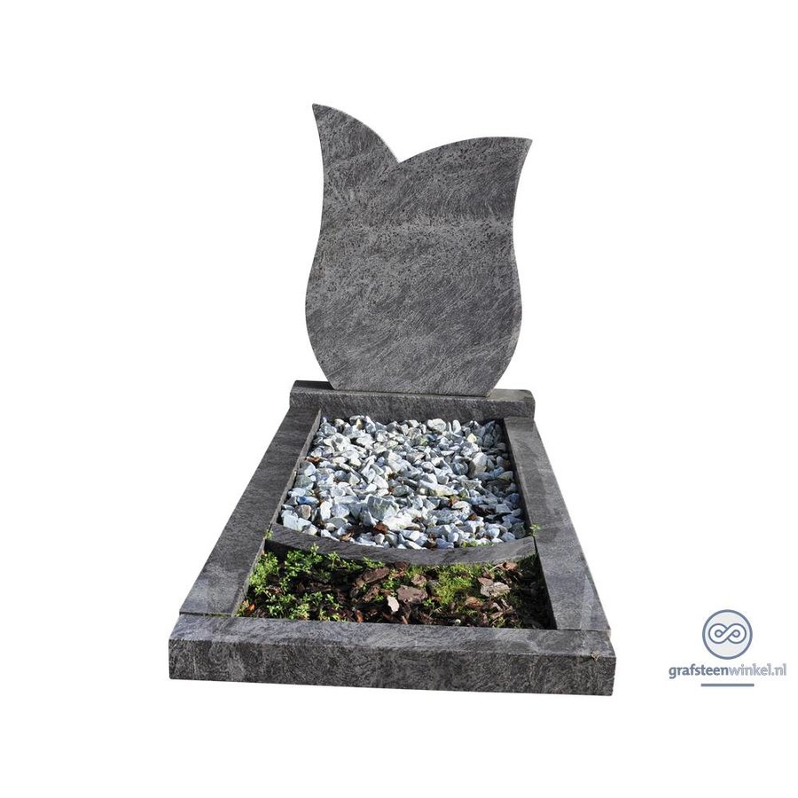 Grijze tulpvormige grafsteen met omranding en bloemvak-2