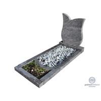 thumb-Grijze tulpvormige grafsteen met omranding en bloemvak-1