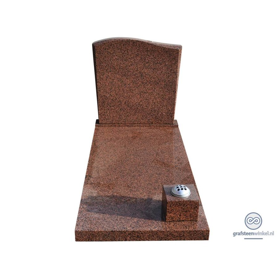 Bruine grafsteen met golvende bovenzijde-2