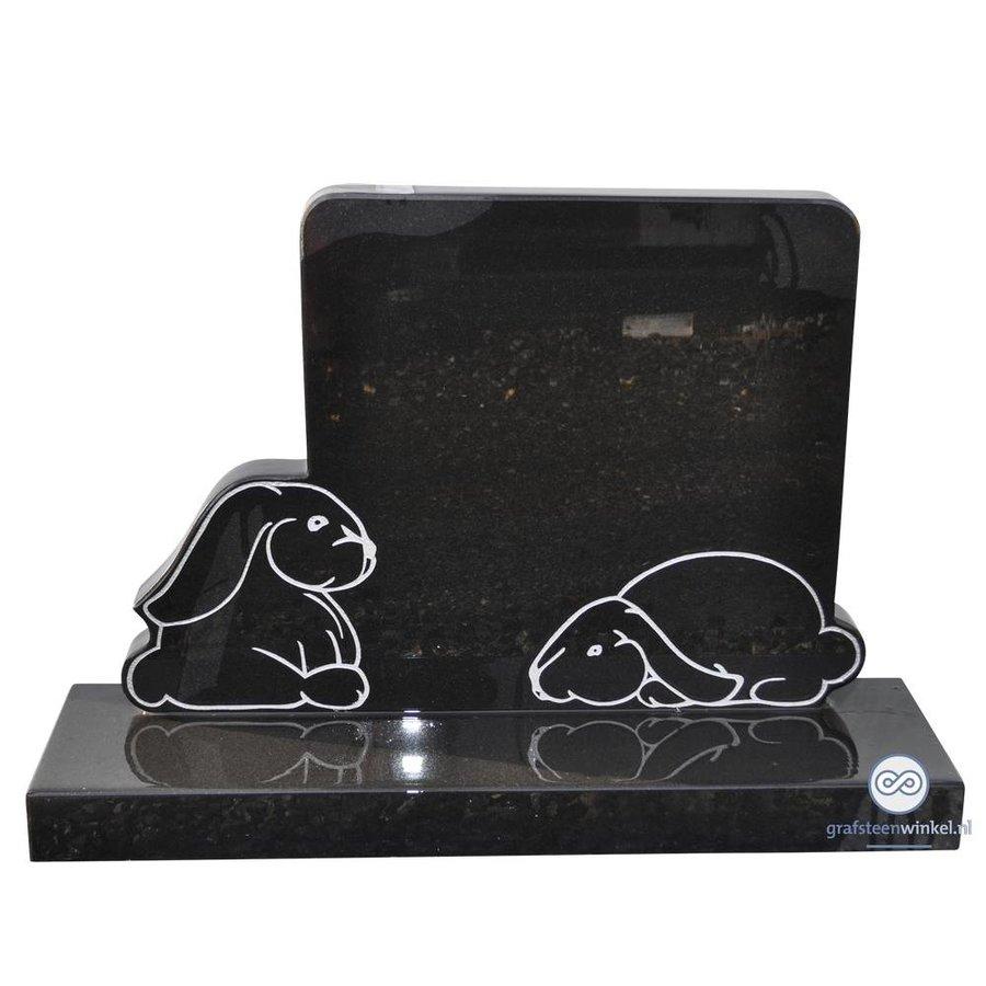 Zwarte grafsteen met twee konijntjes-2