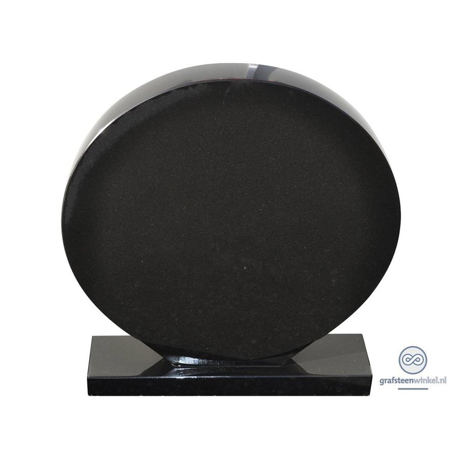 Zwarte cirkelvormige grafsteen-2