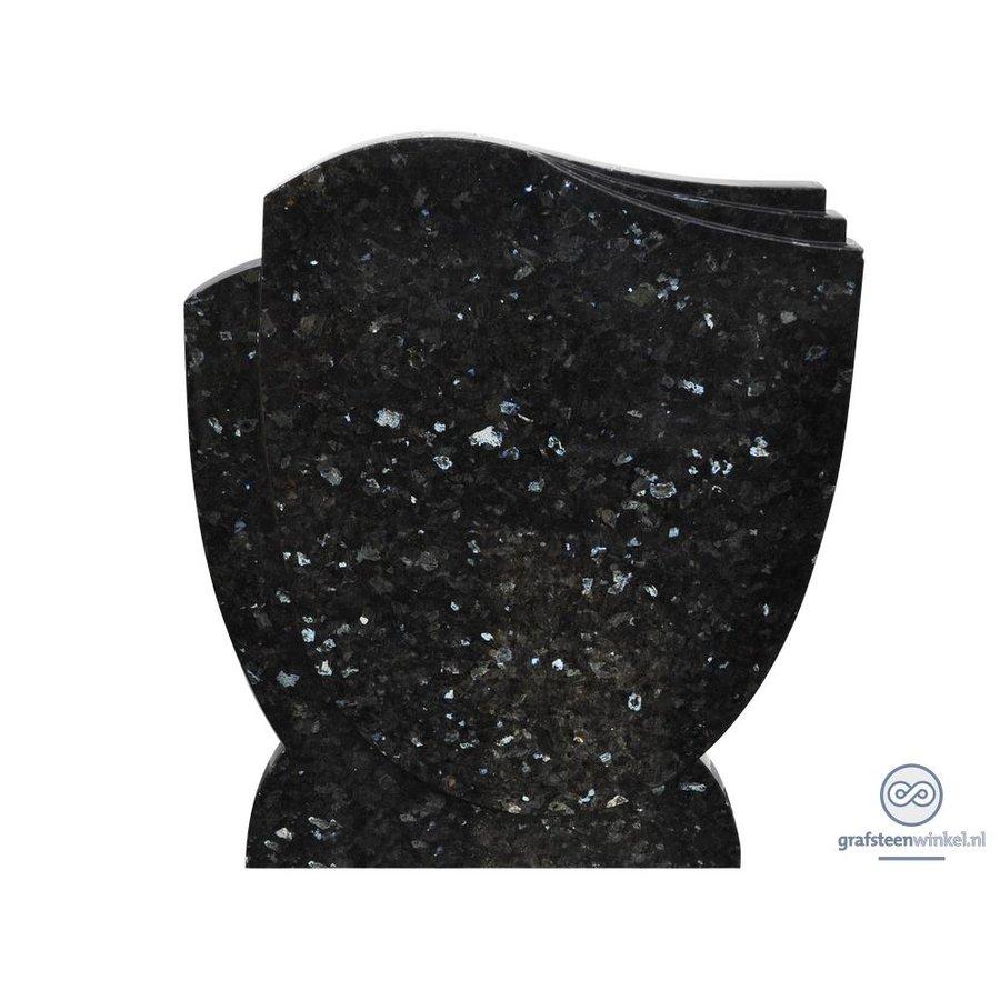 Zwarte grafsteen met golvende zijden-2