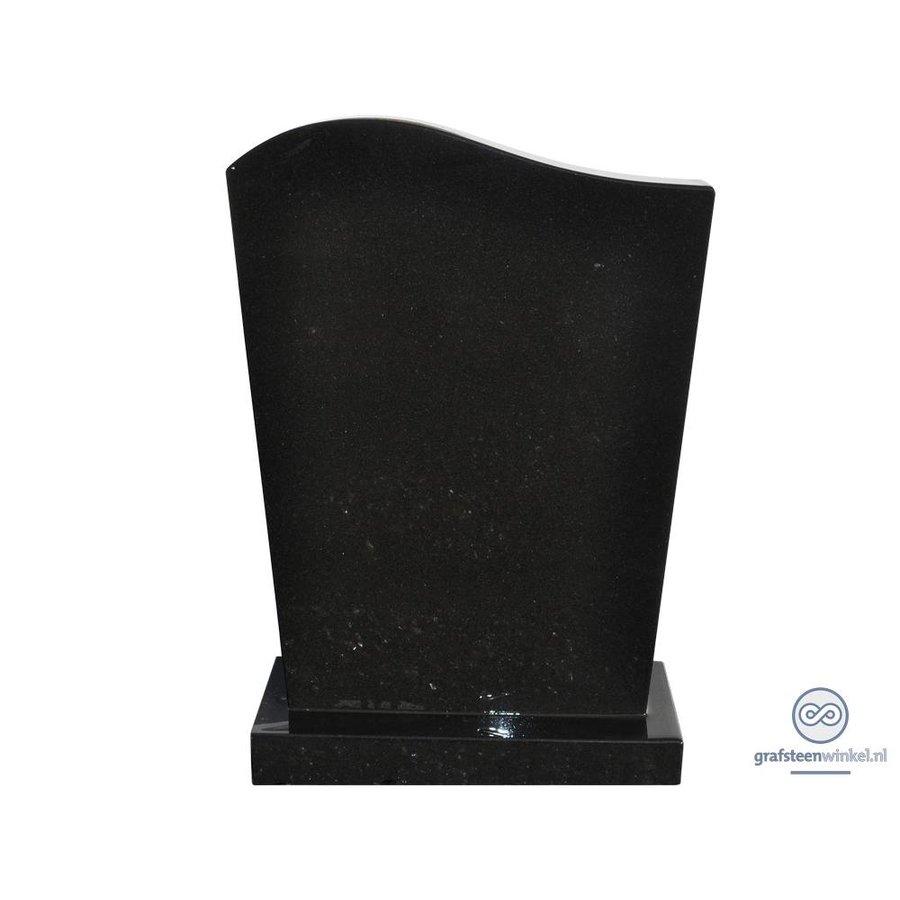 Zwarte grafsteen met golvende bovenzijde-2