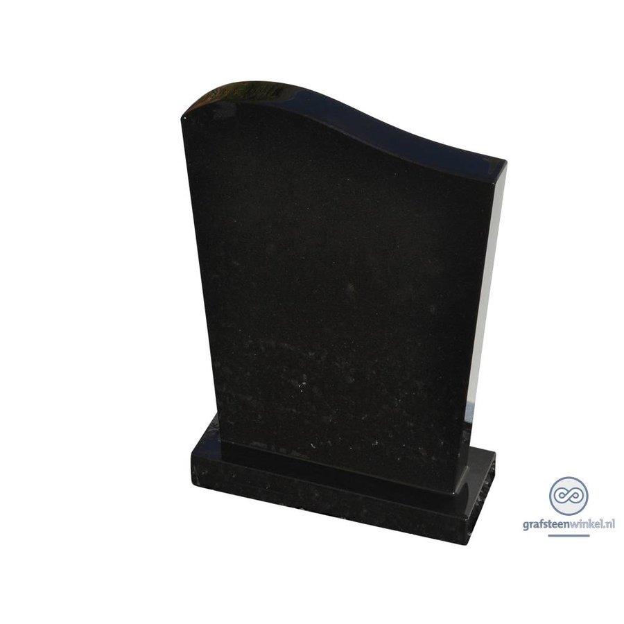 Zwarte grafsteen met golvende bovenzijde-1