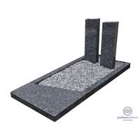 Grijze grafsteen bestaande uit twee zuilen en omranding
