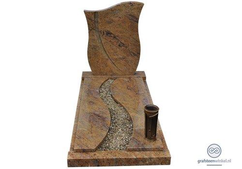 Bruine tulpvormige grafsteen