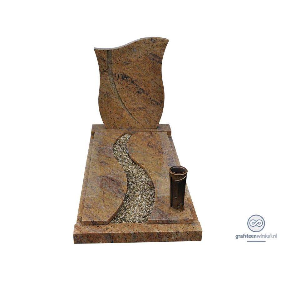Bruine tulpvormige grafsteen met afdekplaat en twee delen