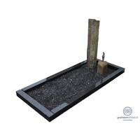 thumb-Twee basalten zuilen grafsteen met zwarte omranding-2