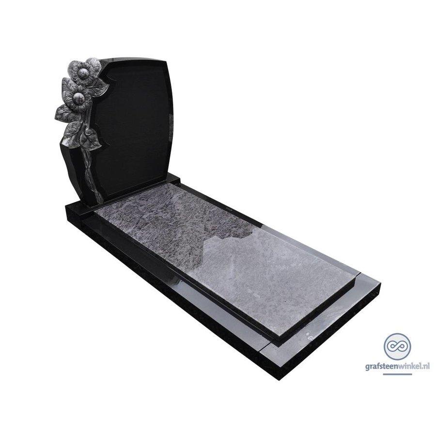 Zwarte grafsteen met zonnebloem en afdekplaat van grijs graniet