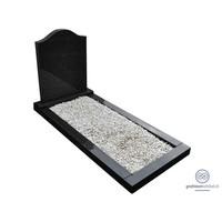 thumb-Zwarte hals vormige grafsteen met omranding-1