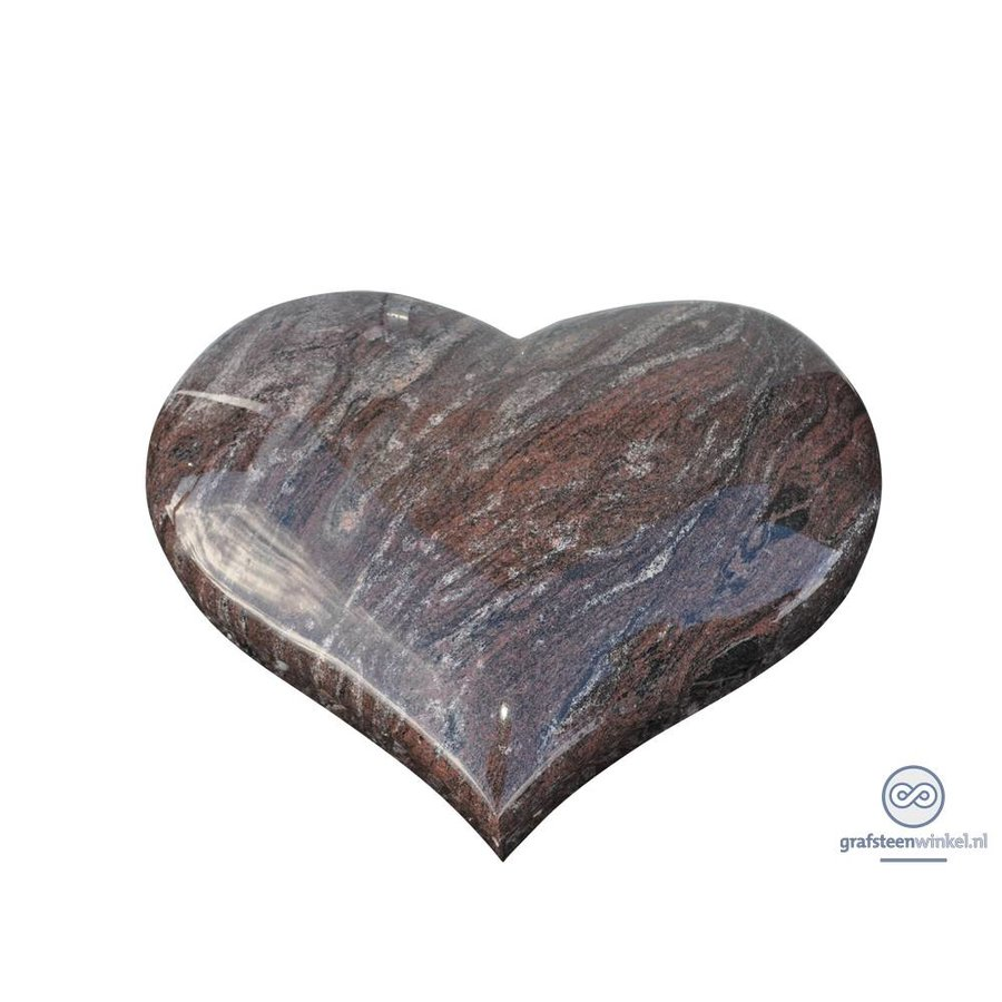 liggende rode grafsteen hart met rode vlam