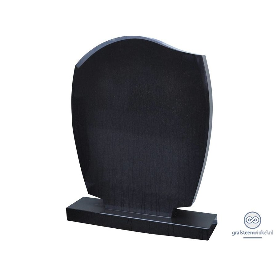 Zwarte grafsteen met golvende zijden