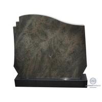 thumb-Grijze grafsteen met welvende bovenkant en zwarte voet-2
