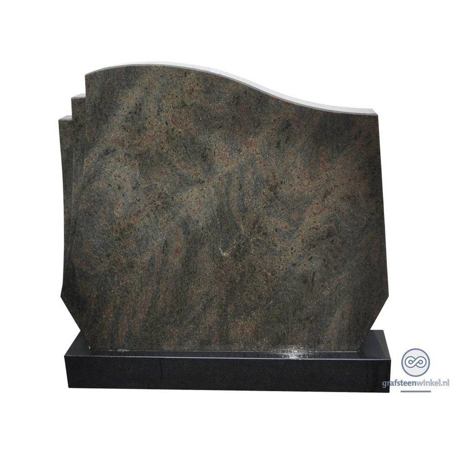 Grijze grafsteen met welvende bovenkant en zwarte voet-2