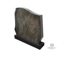 Grijze grafsteen met welvende bovenkant en zwarte voet