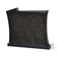 thumb-Zwarte grafsteen met licht welvende zijden-1