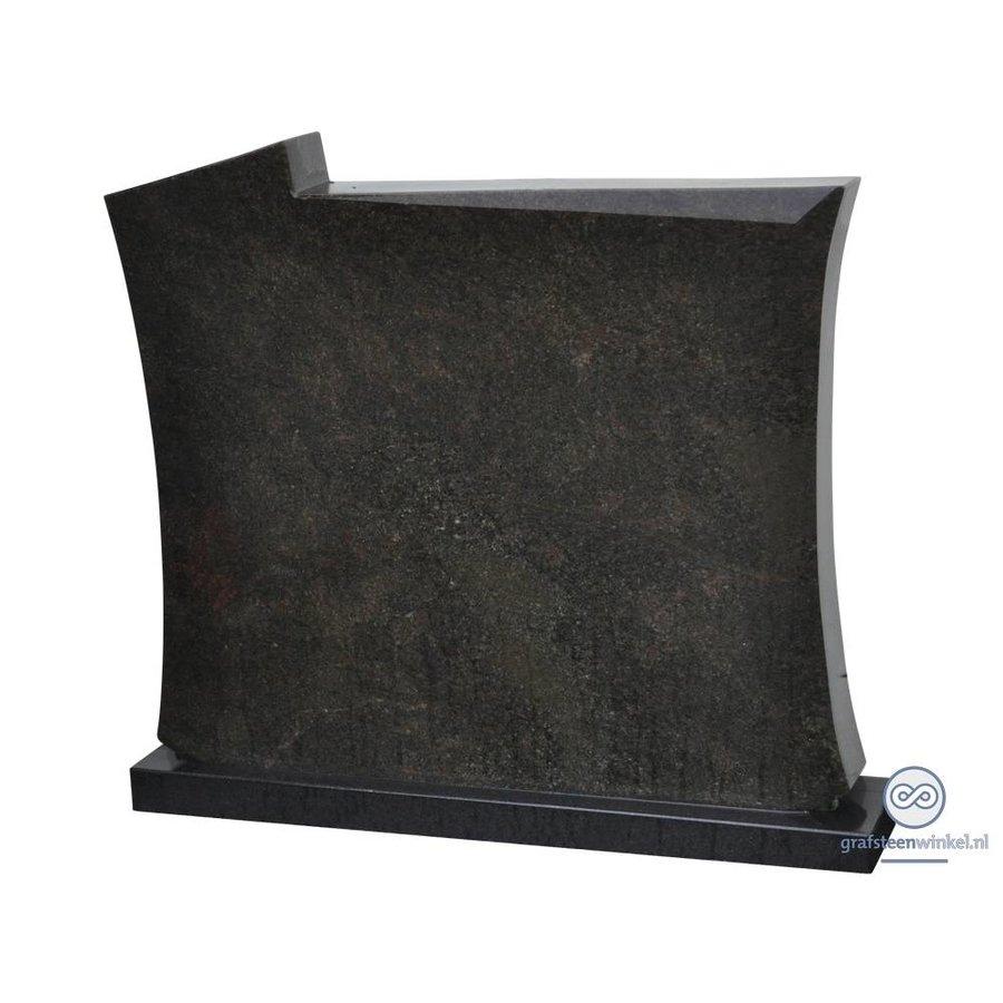 Zwarte grafsteen met licht welvende zijden-1