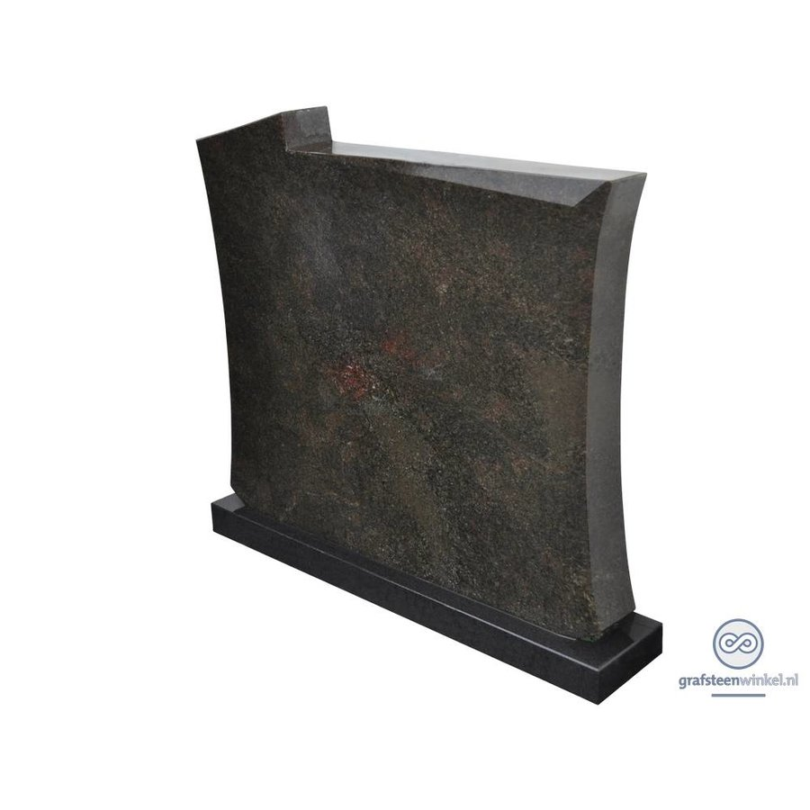 Zwarte grafsteen met licht welvende zijden-2