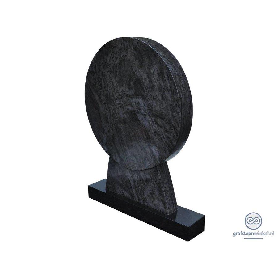 Zwarte ronde grafsteen
