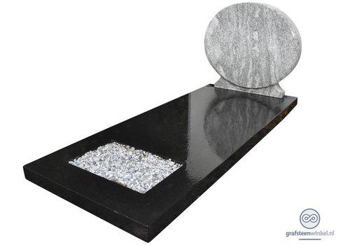 Grafsteen met combinatie van zwart en wit