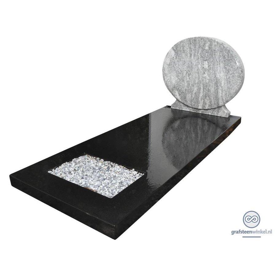 Grafsteen met combinatie van zwart en wit-1