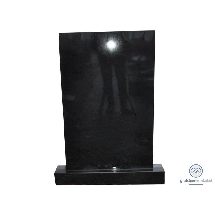 Zwarte grafsteen rechthoekig