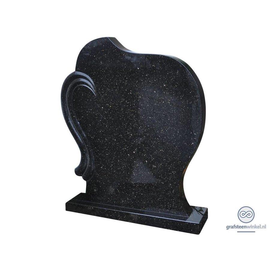 Zwarte grafsteen met koperkleurige spikkel-1