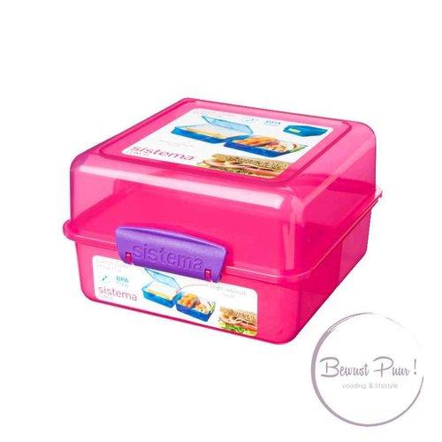 Sistema Lunchbox 'Cube' - Roze met gekleurde clips
