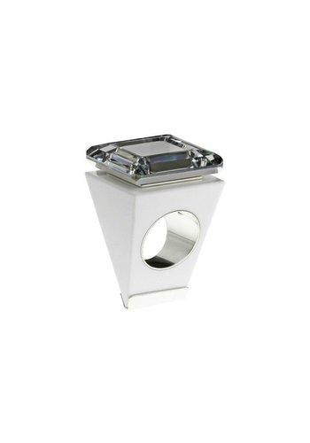 Ostrowski Design Big Ring vierkant wit-zilver