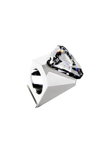 Ostrowski Design Big Ring driehoek wit -zilver