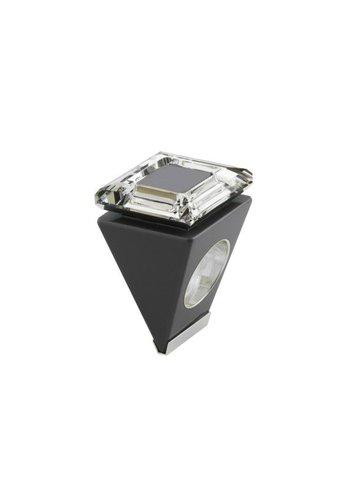Ostrowski Design Big Ring vierkant zwart - zilver