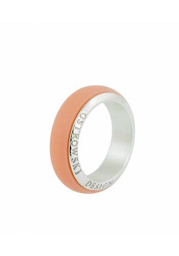Ostrowski Design Ring Joy Line pastel oranje - zilver