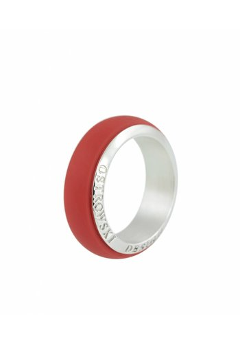 Ostrowski Design Ring Joy Line koraal - zilver