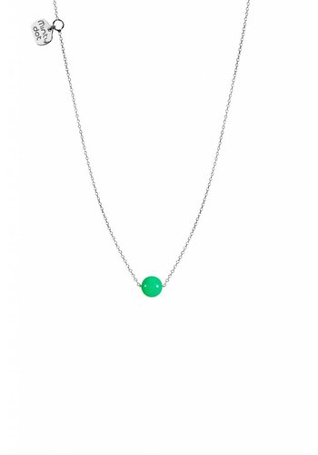 "Minty dot Ketting ""natural"" Chrysopraas - zilver"