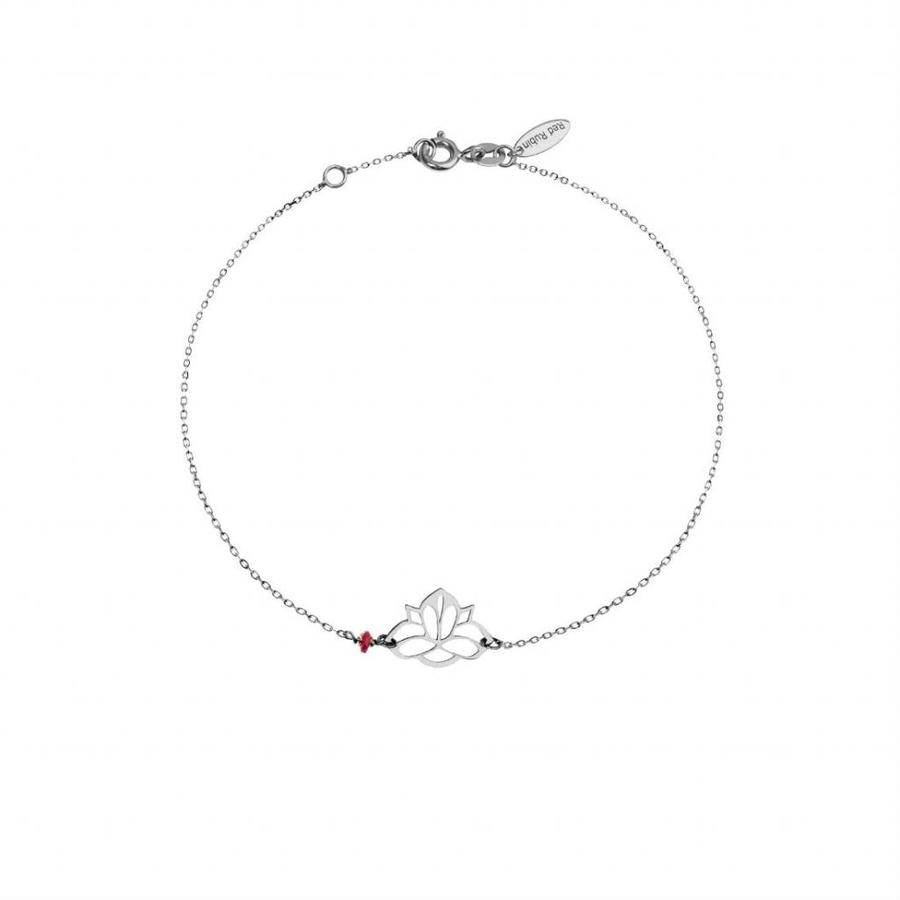 """Armband """"ruby-lucky charm"""" Lotus - zilver-1"""