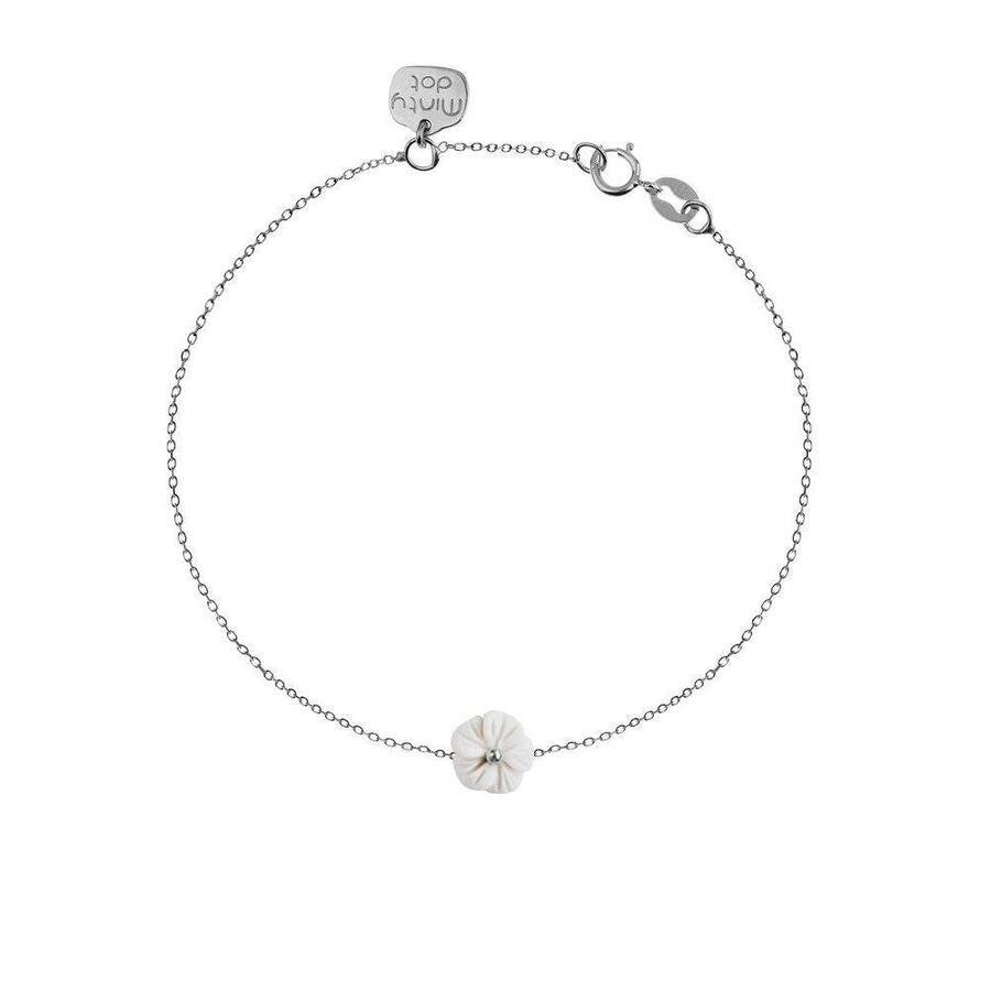 """Armband """"forget me not"""" witte agaat bloemetje - zilver.-1"""