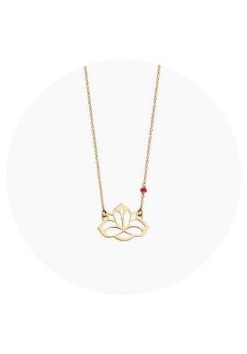 "Minty dot Ketting ""ruby-lucky charm""Lotus - verguld"