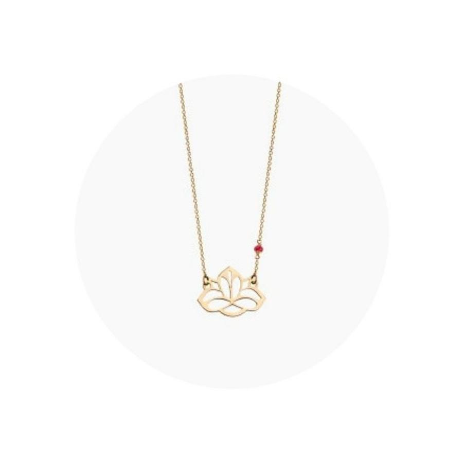 "Ketting ""ruby-lucky charm"" Lotus - verguld-1"