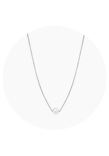 "Minty dot Ketting ""natural"" My precious pearl - zilver"