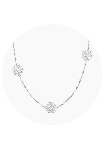 """Minty dot Ketting """"lace""""  3 elementen- zilver"""
