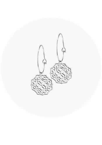 """Minty dot Oorbellen """"lace"""" groot -zilver"""