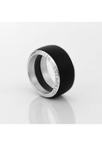 Ostrowski Design Ring Joy Line max zwart - zilver