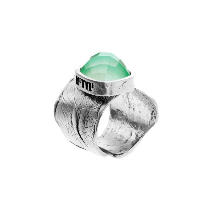 """Ring """"treasure island"""" M5431 met groene agaat-1"""