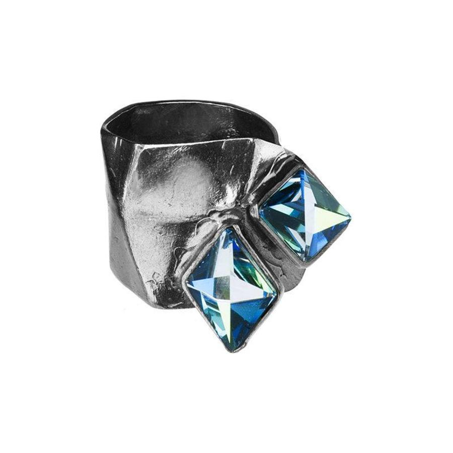 "Ring ""aurora"" MR5527"" met Swarovski kristal Berm Metal Blue-1"